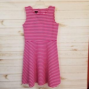 Talbots pink/white stripes Edie fit flare dress L